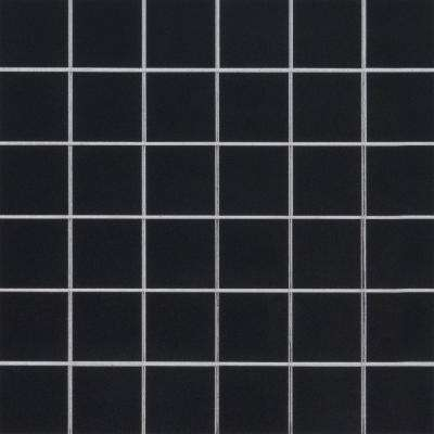 Black 12 in. x 12 in. x 10 mm Glazed Porcelain Mesh-Mounted Mosaic Tile (8 sq. ft./case)