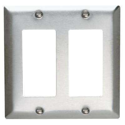 302 Series 2-Gang Decorator Wall Plate in Stainless Steel