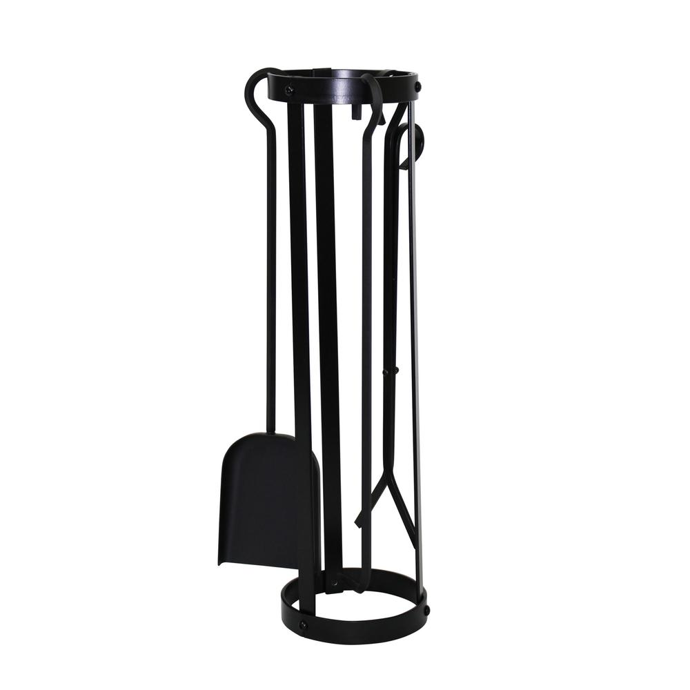 Round 3-Piece Indoor/Outdoor Fireplace Tool Set in Black