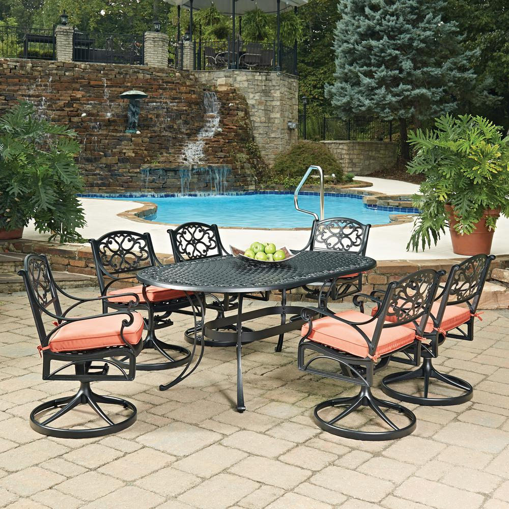 Home Styles Biscayne Black 7 Piece Cast Aluminum Outdoor Dining Set With Coral Cushions 5554