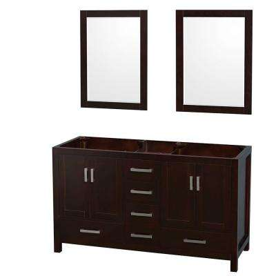 Sheffield 59 in. Double Vanity Cabinet with 24 in. Mirrors in Espresso