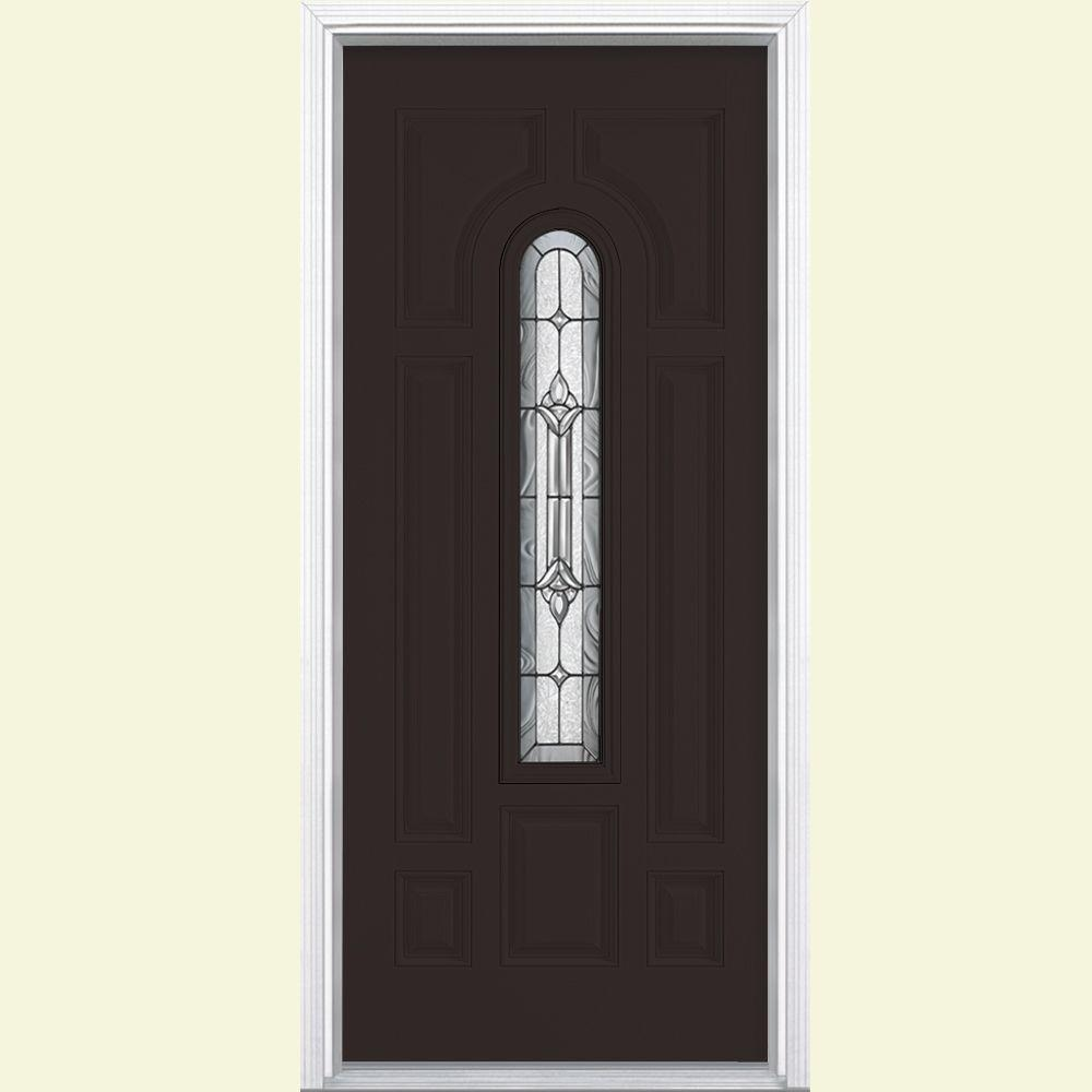 Masonite 36 in. x 80 in. Providence Center Arch Left Hand Inswing Painted Smooth Fiberglass Prehung Front Door w/ Brickmold