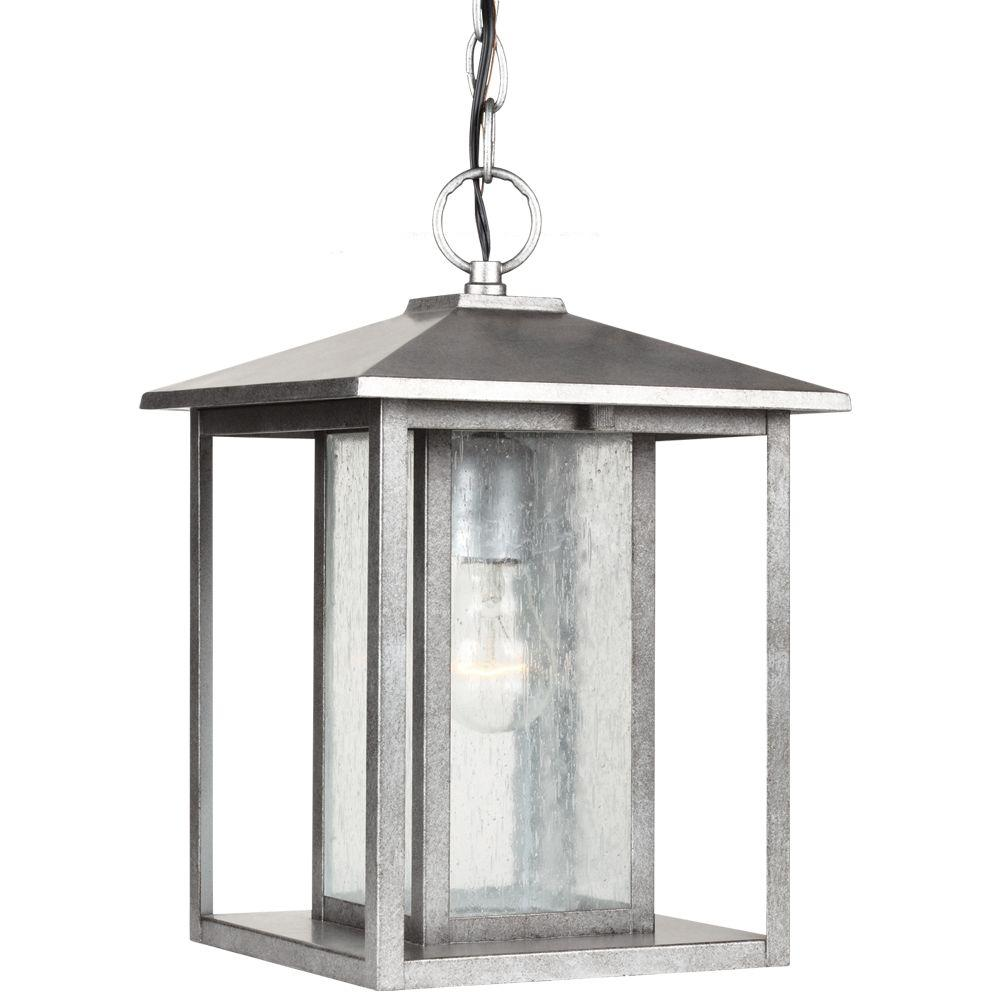 Sea Gull Lighting Hunnington 1-Light Outdoor Weathered Pewter Hanging Pendant Fixture