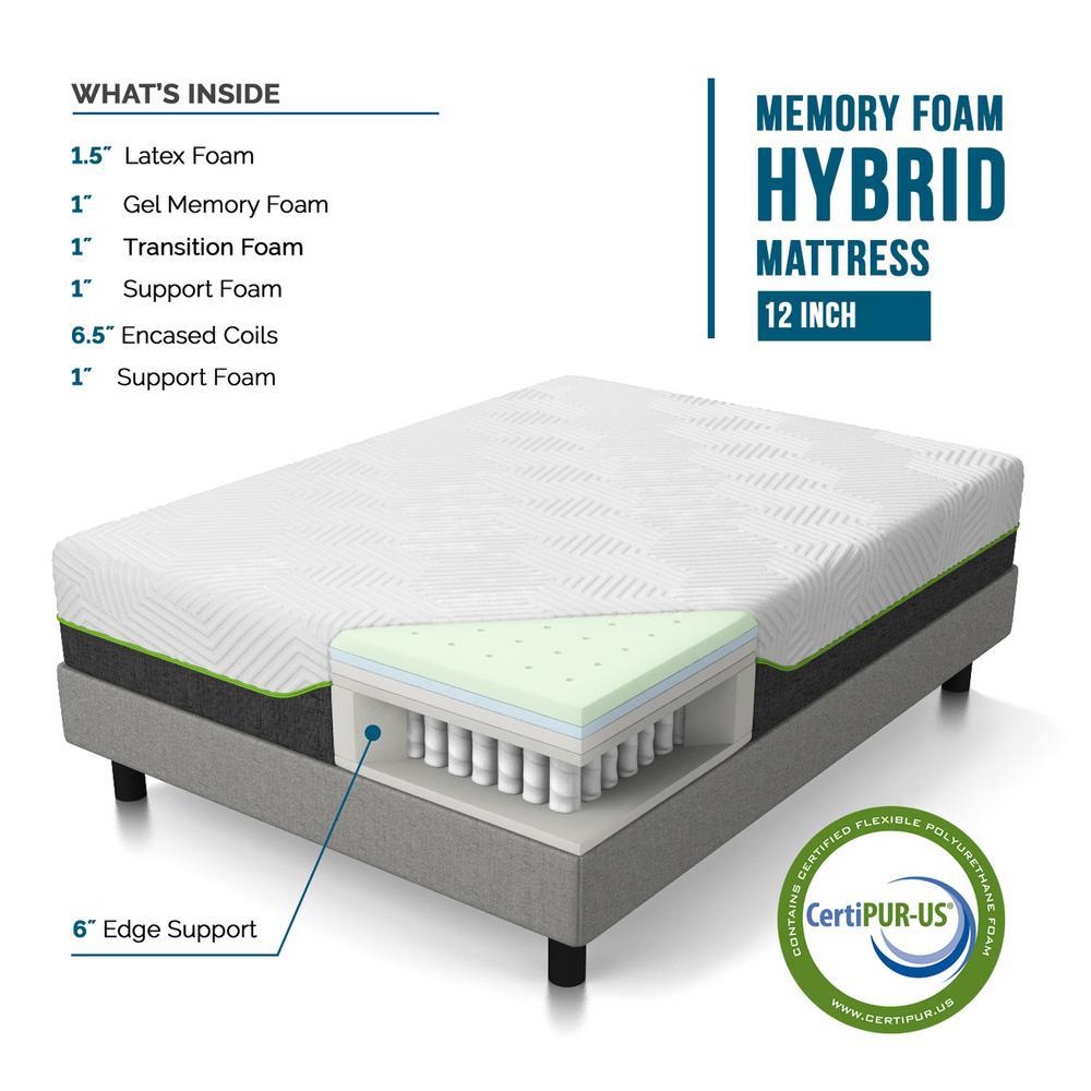 Lucid 12 In Queen Premium Support Memory Foam Hybrid Mattress Lubb12qq70lh The Home Depot