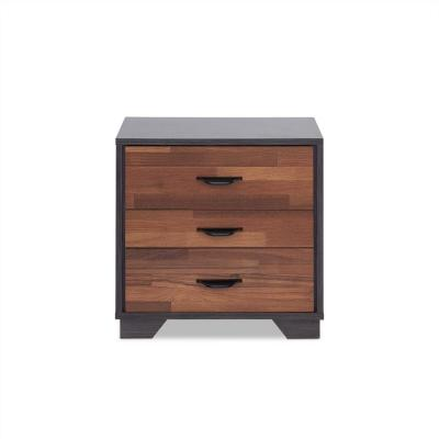 HomeRoots Amelia 3-Drawer 19.69 in. x 15.75 in. x 18.9 in. Walnut Particle Board Nightstand, Walnut And Espresso