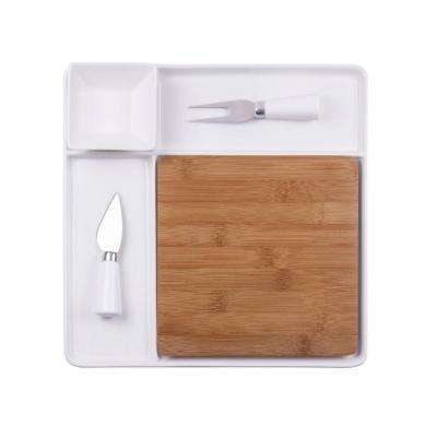 Peninsula Cutting Board Serving Tray with Cheese Tools