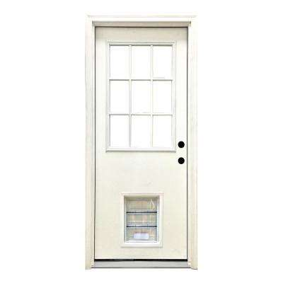 32 in. x 80 in. Classic Clear 9 Lite LHIS White Primed Fiberglass Prehung Front Door with XL Pet Door