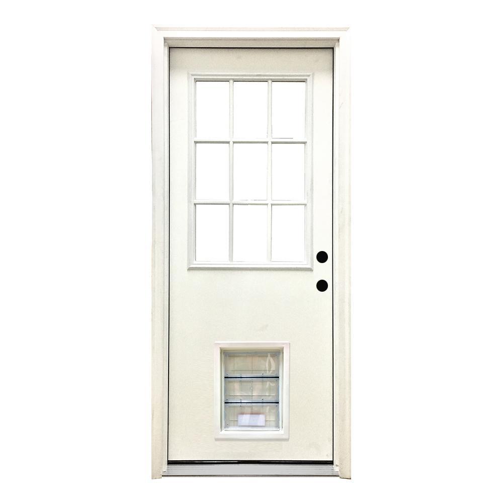 Steves Sons 36 In X 80 In Classic Clear 9 Lite Lhis White Primed Fiberglass Prehung Front Door With Xl Pet Door Fwtn 36xlp 4ilh The Home Depot
