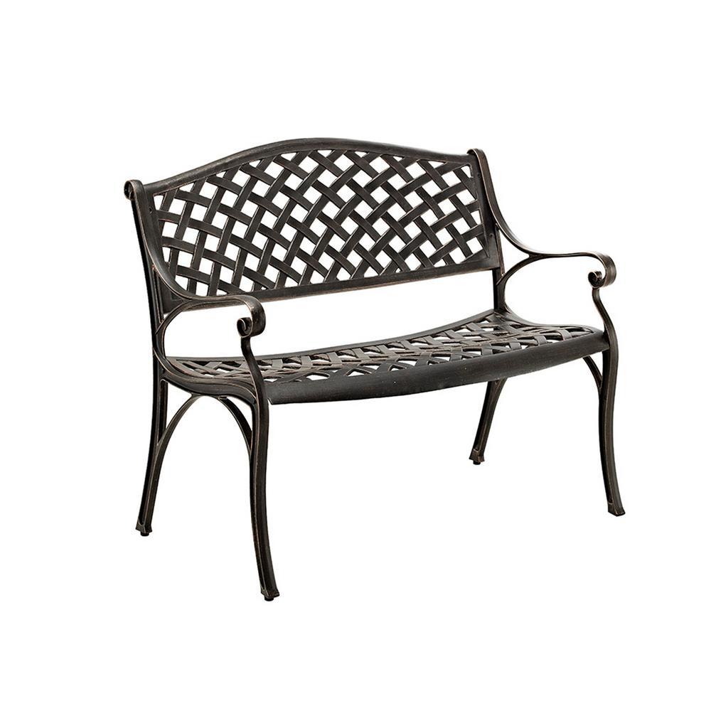 42 in. Cast Aluminum Wicker Style Bench in Antique Bronze