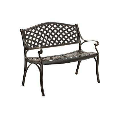 42 in. Cast Aluminum Wicker Style Bench in Antique Bronze