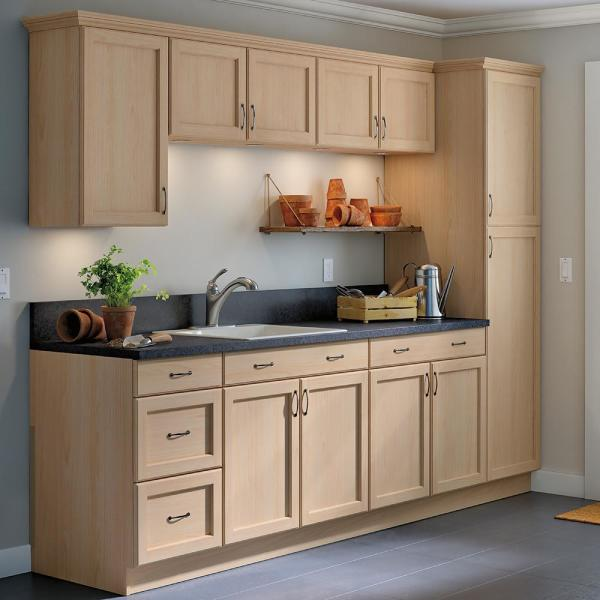 Hampton Bay Easthaven Shaker Assembled 30x12x12 In Frameless Wall Cabinet In Unfinished Beech Eh3012w Gb The Home Depot