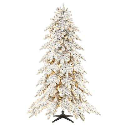 7.5 ft. Risch White Pine Heavy Flocked LED Pre-Lit Artificial Christmas Tree with 1000 SureBright Warm White Lights