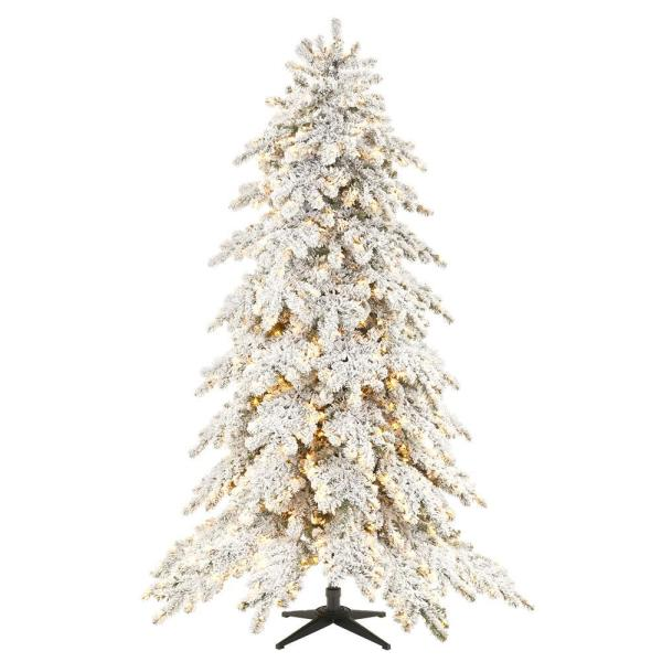 Home Decorators Collection 7 5 Ft Risch White Pine Heavy Flocked Led Pre Lit Artificial Christmas Tree With 1000 Surebright Warm White Lights Tg76m2aohl03 The Home Depot