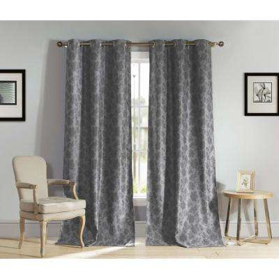 Floral Grey Polyester Blackout Grommet Window Curtain 54 in. W x 84 in. L (2-Pack)