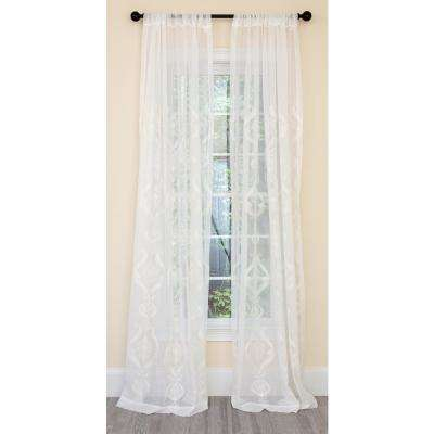 Ellie Embroidered Sheer Single Rod Pocket Curtain Panel in White - 52 in. x 120 in.