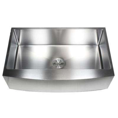 36 in. x 21 in. x 10 in. 16-Gauge Stainless Steel Farmhouse Apron Curve Front Single Bowl Kitchen Sink