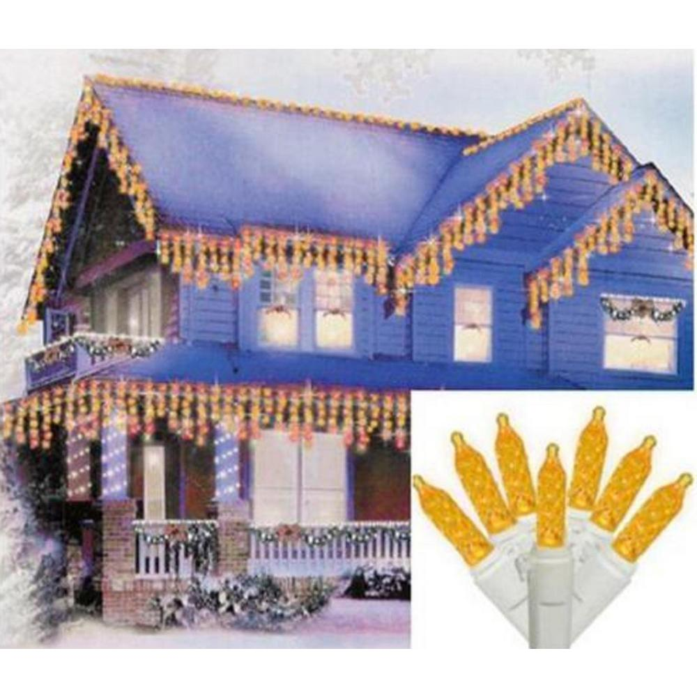 Sienna Set Of 70 Yellow Gold Led M5 Icicle Christmas Lights White Wire