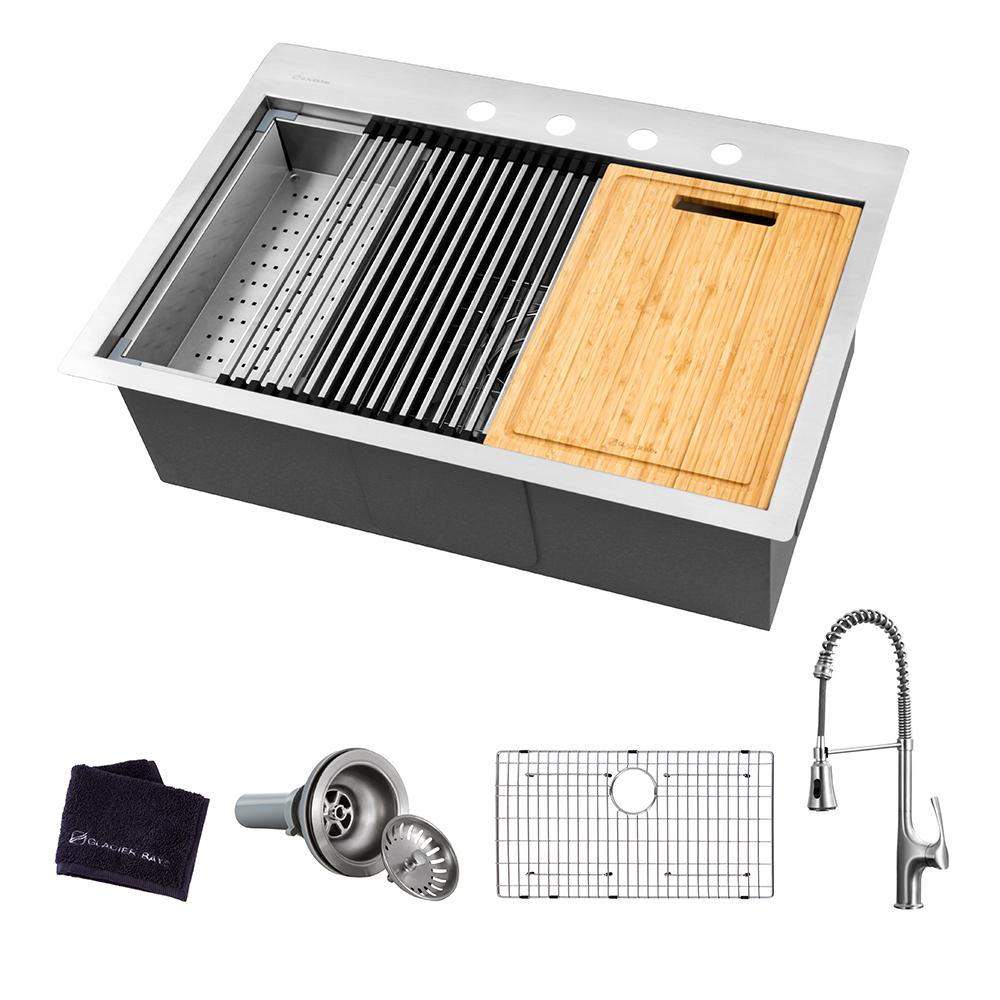 Glacier Bay All-in-One Drop-In Stainless Steel 27 in. 4-Hole Single Bowl Kitchen Workstation Sink with Faucet and Accessories