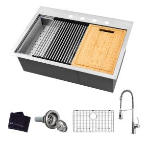 All-in-One Drop-In Stainless Steel 27 in. 4-Hole Single Bowl Kitchen Workstation Sink with Faucet and Accessories