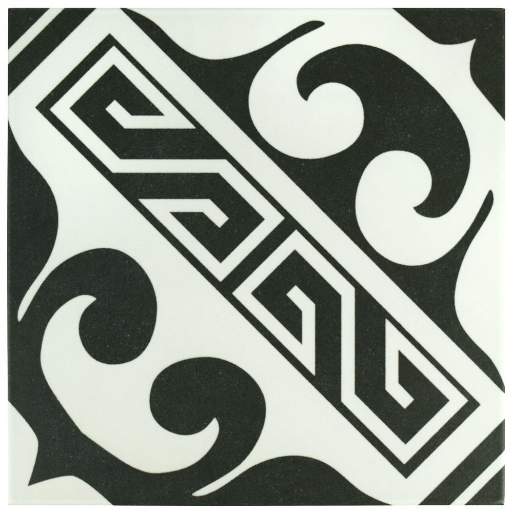 Majestic Versalles Black Encaustic 9-3/4 in. x 9-3/4 in. Porcelain Floor