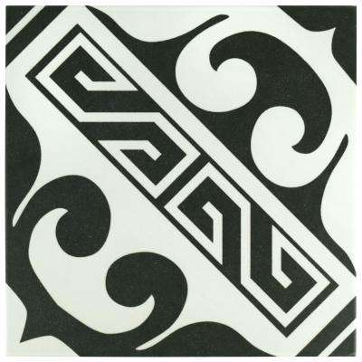 Majestic Versalles Black Encaustic 9-3/4 in. x 9-3/4 in. Porcelain Floor and Wall Tile (10.76 sq. ft. / case)