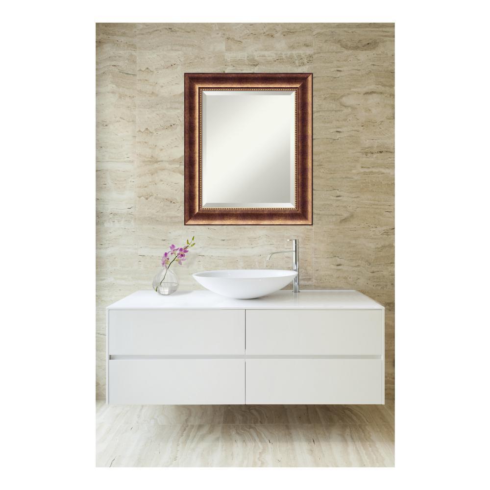 Manhattan Burnished Bronze Wood 22 in. W x 26 in. H Single Contemporary Bathroom Vanity Mirror