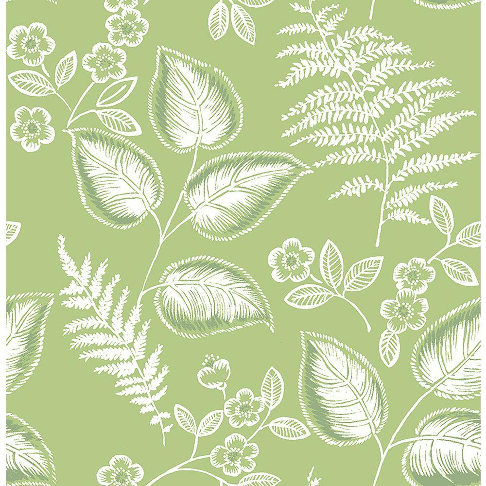 Trianon Green Botanical Wallpaper Sample