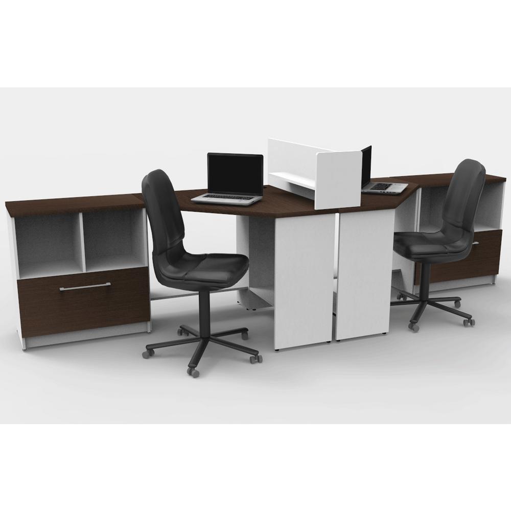 5 piece white espresso office reception desk collaboration center