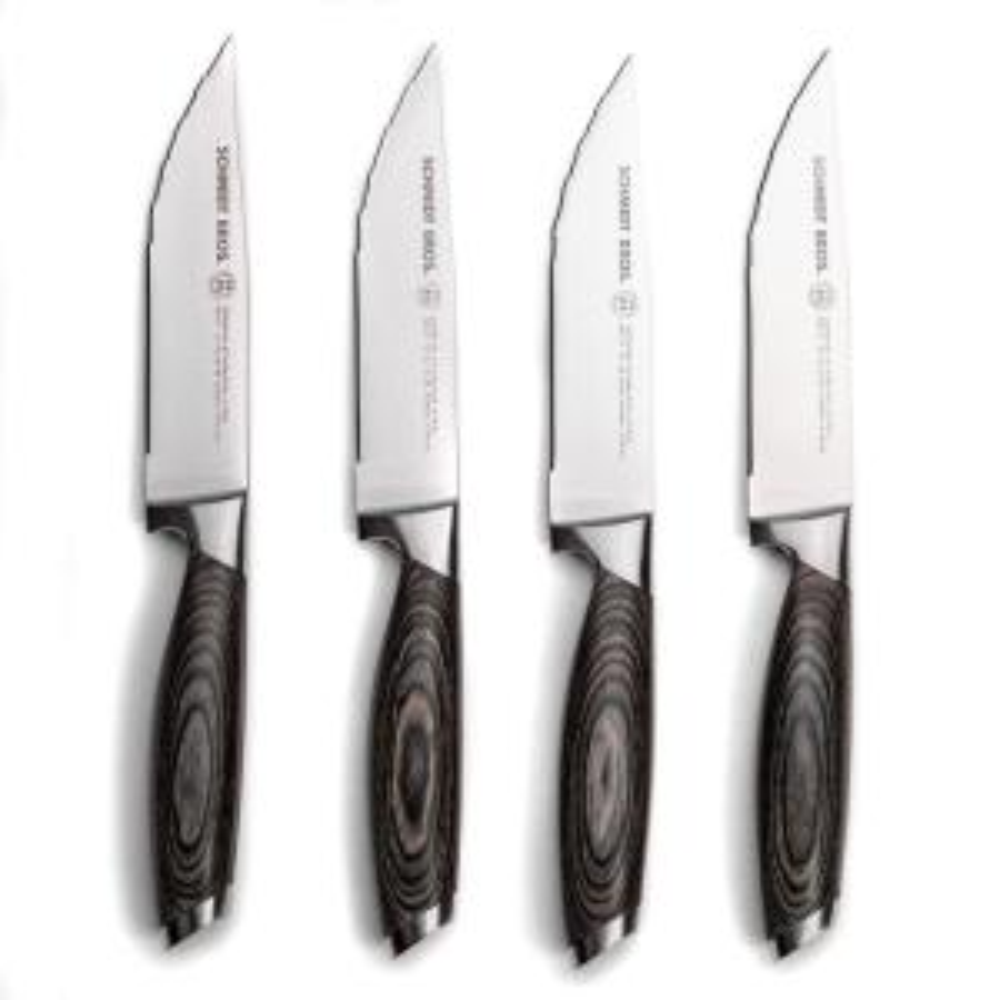 4-Piece Stainless Steel Cutlery Bonded Ash Jumbo Steak Knife Set in Wood Gift Box