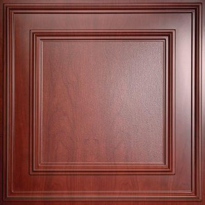 Ceilume Cambridge Faux Wood-Cherry 2 ft. x 2 ft. Lay-in or Glue-up Ceiling Panel (Case of 6), Red