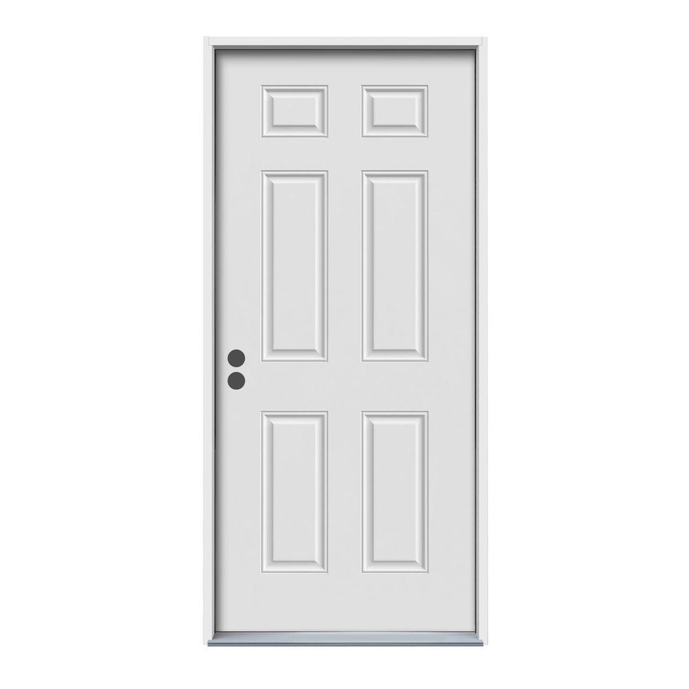 Jeld wen 32 in x 80 in 6 panel primed 20 minute fire for Steel home entry doors
