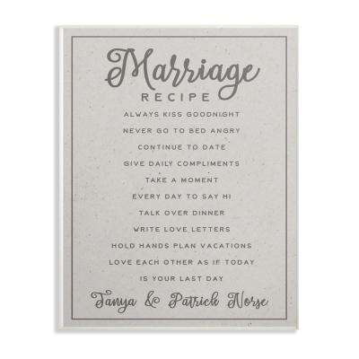 """10 in. x 15 in. """"Marriage Recipe"""" by Daphne Polselli Printed Wood Wall Art"""