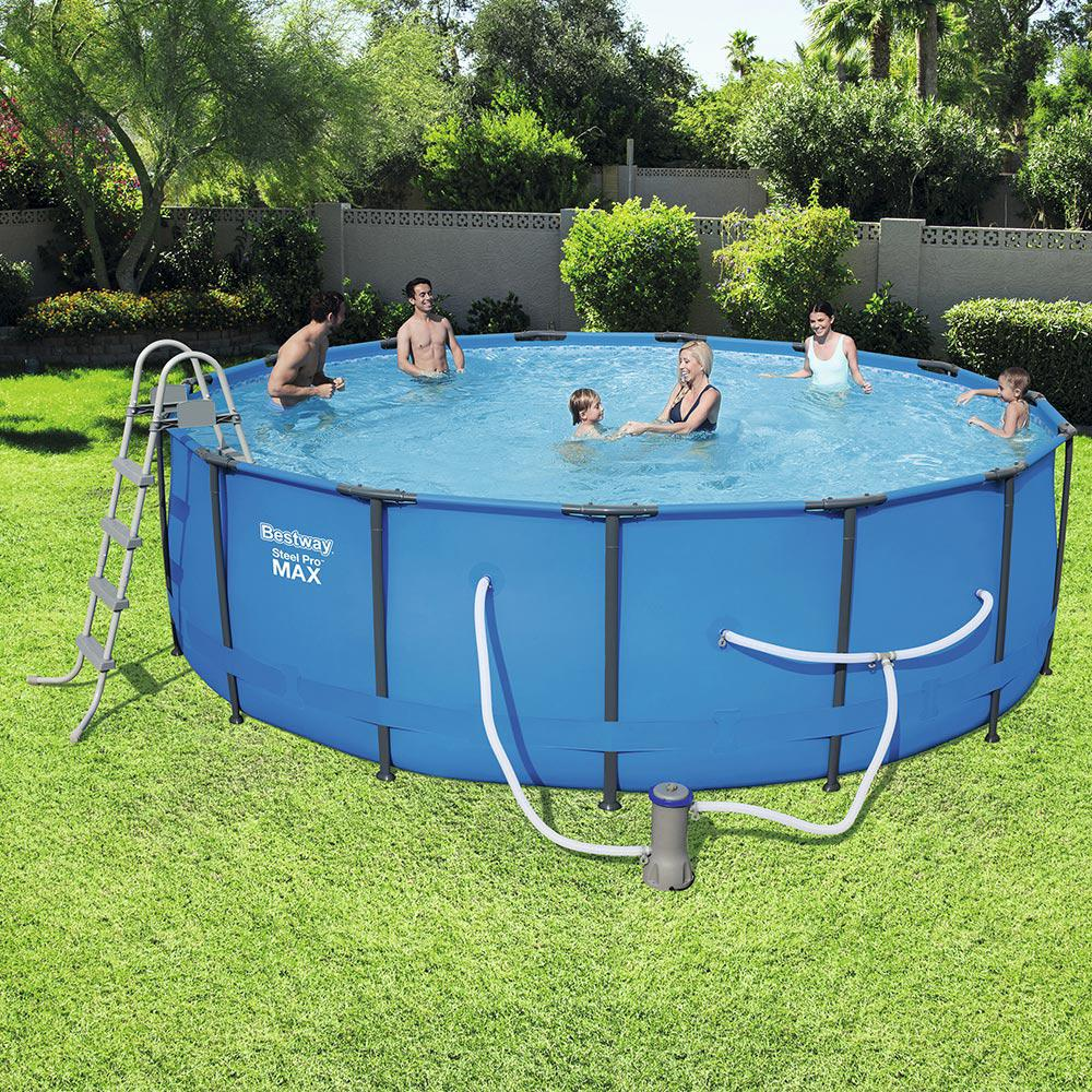 Bestway 15 ft round 48 in deep steel pro swimming pool for Bestway pool obi