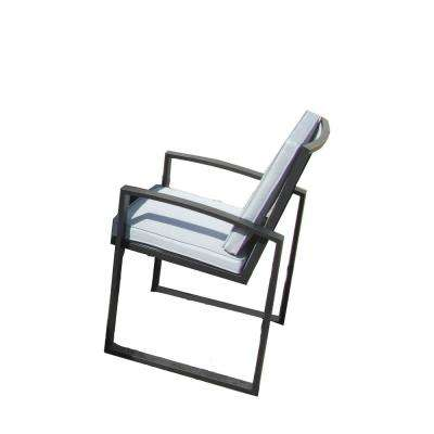 6-Piece Aluminum Patio Dining Chairs Set with White Cushions