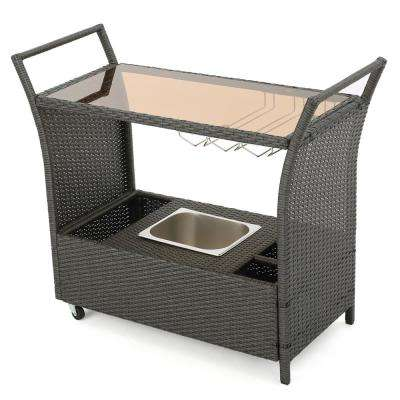 Bahama Wicker Outdoor Serving Bar with Ice Bucket