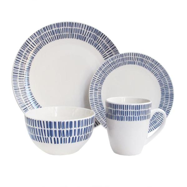 Rhythm 16-Piece White and Blue Dinnerware Set