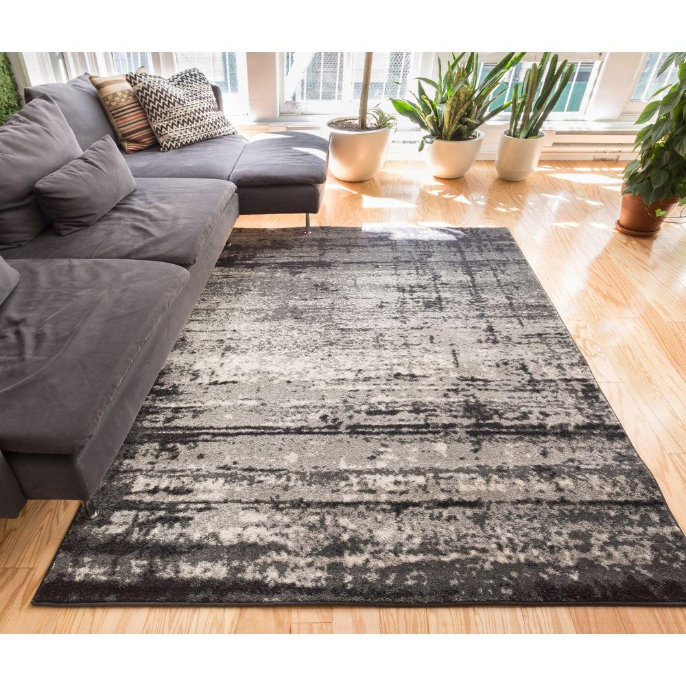 Sydney vintage crosby grey 3 ft x 5 ft modern distressed area rug