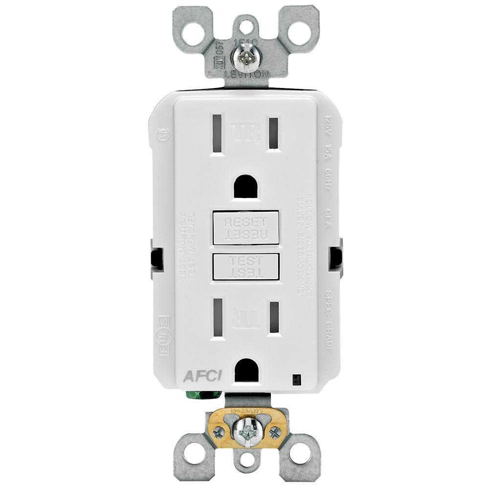 Leviton 15 Amp Tamper Resistant AFCI Outlet, White