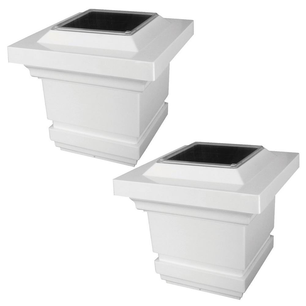 Classy 4 in. x 4 in. 4-LED Outdoor White PVC Integrated