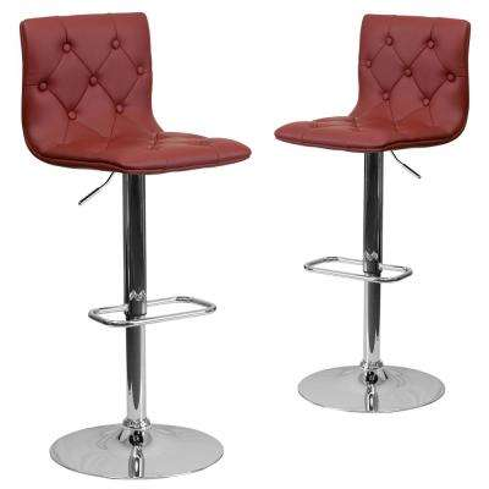 32.25 in. Burgundy Bar stool (Set of 2)