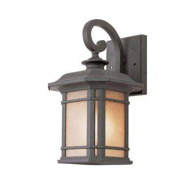 1-Light Black Outdoor Wall Lantern with Tea Stained Glass