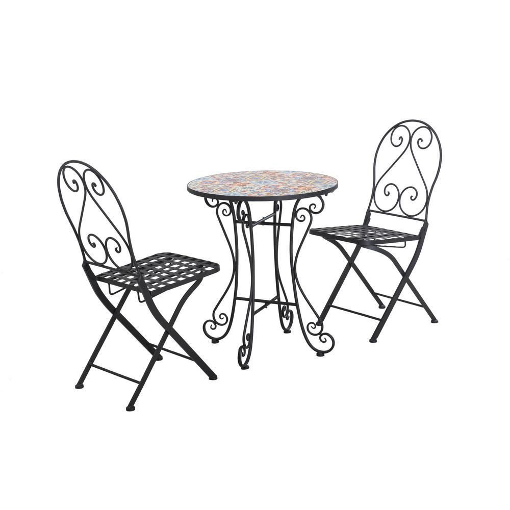 Sunjoy Piece Metal Round Mosaic Outdoor Bistro Set Without Cushion Image