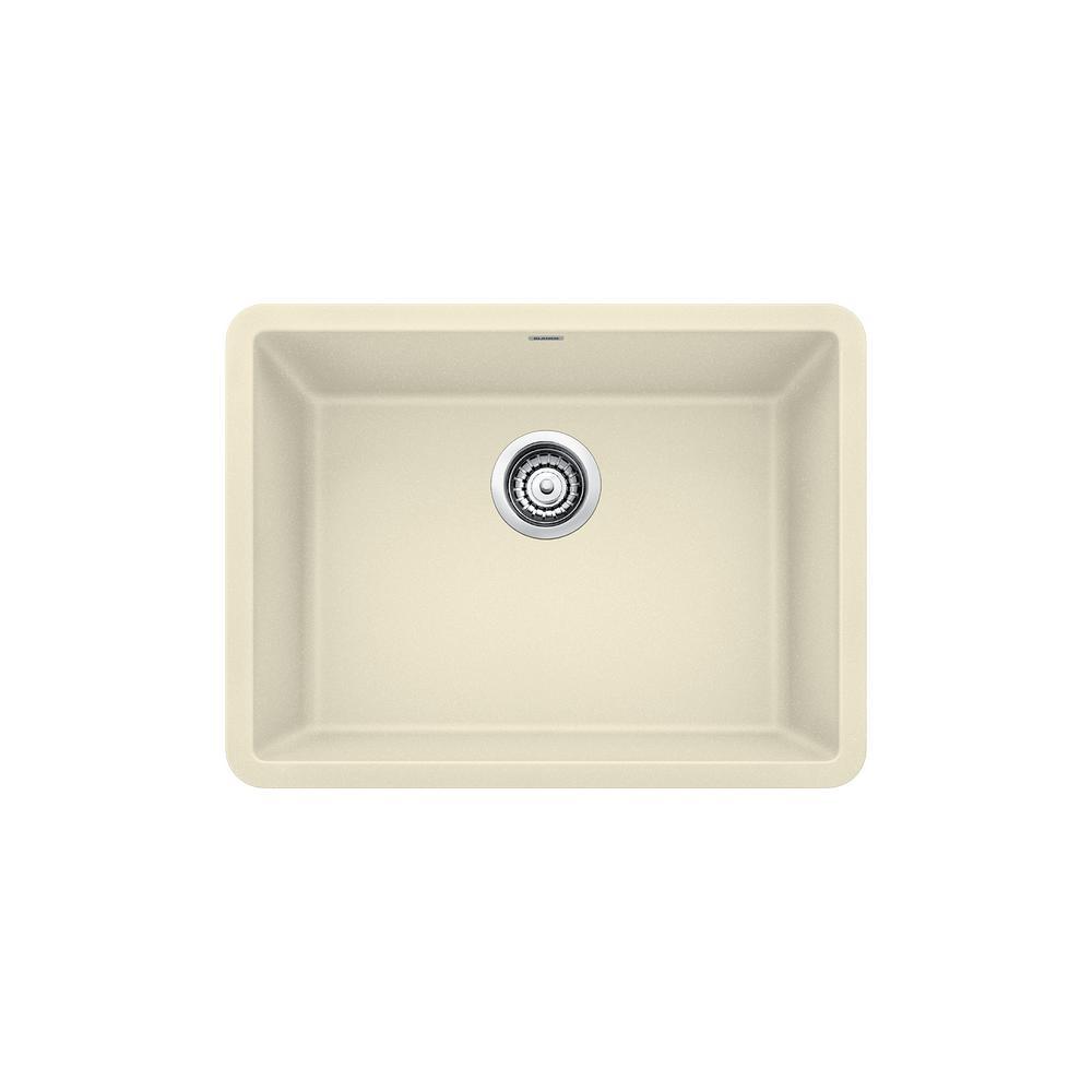 blanco precis undermount granite composite 24 in  single bowl kitchen sink in biscuit blanco precis undermount granite composite 24 in  single bowl      rh   homedepot com