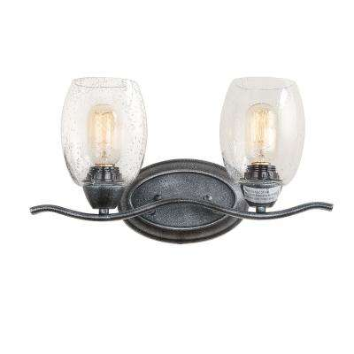 2-Light Aged Black Vanity Light with Seeded Glass Shade