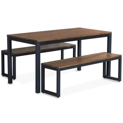 60 in. x 36 in. Loft Black and Chocolate Spice Bench Dining Set