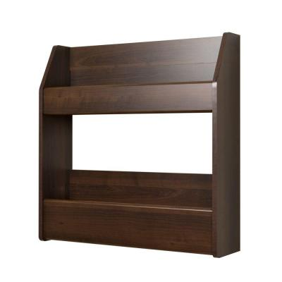 Espresso 2-Shelf Composite Wood Floating Wine and Liquor Rack