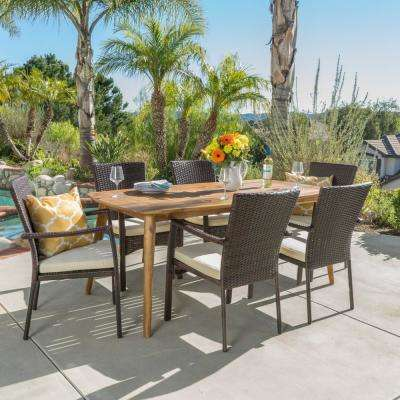 Emmalynn 7-Piece Wood and Wicker Outdoor Dining Set with Crme Cushion