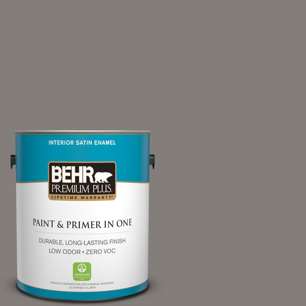 1 gal. #PPU18-17 Suede Gray Zero VOC Satin Enamel Interior Paint