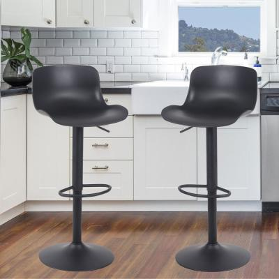Black Adjustable Height Solid Color Monochromatic Bar Stool (Set of 2)