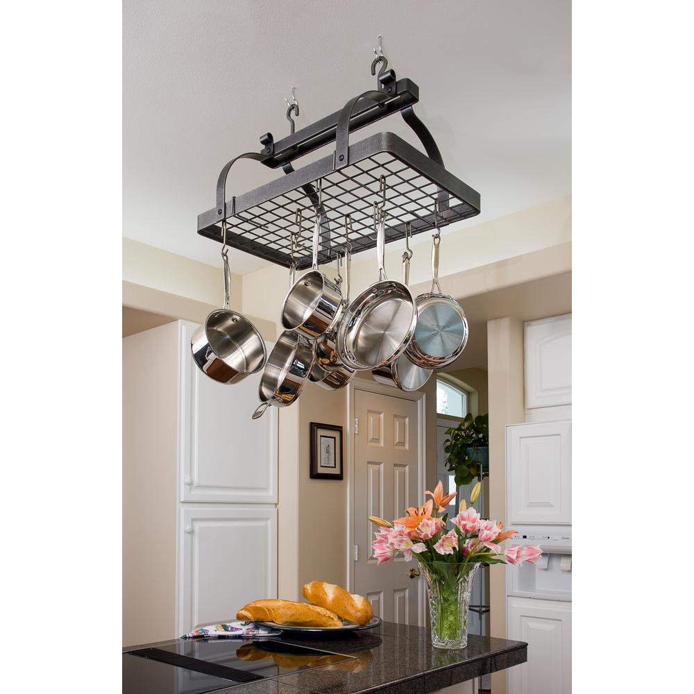 Enclume Premier Classic Rectangle Ceiling Pot Rack in Hammered Steel